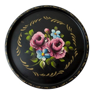 1960s Vintage Hand Painted Tole Tray For Sale