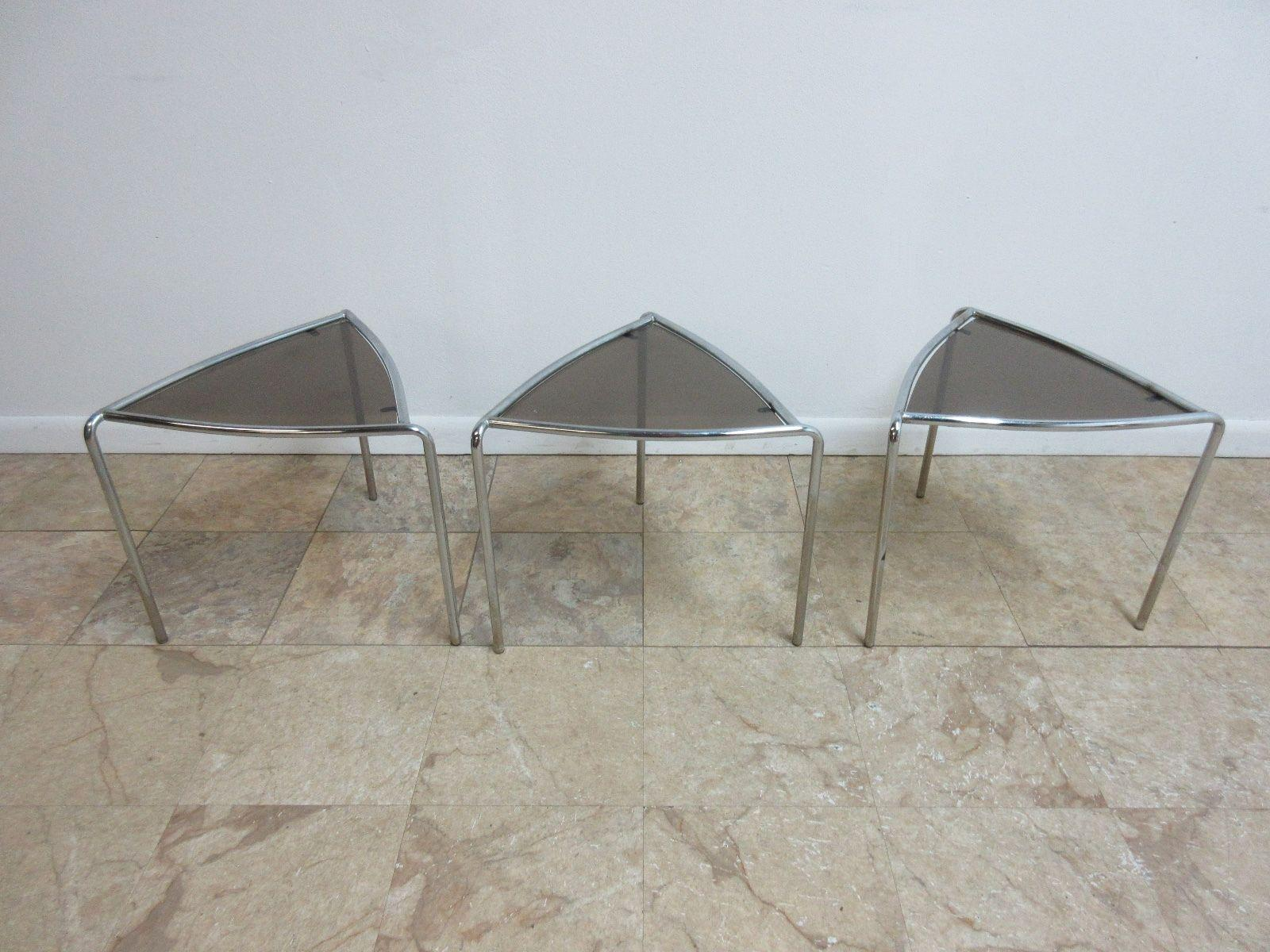 Set Of 3 Vintage Mid Century Chrome Triangle Stacking Stack Nesting Lamp  End Tables   Image
