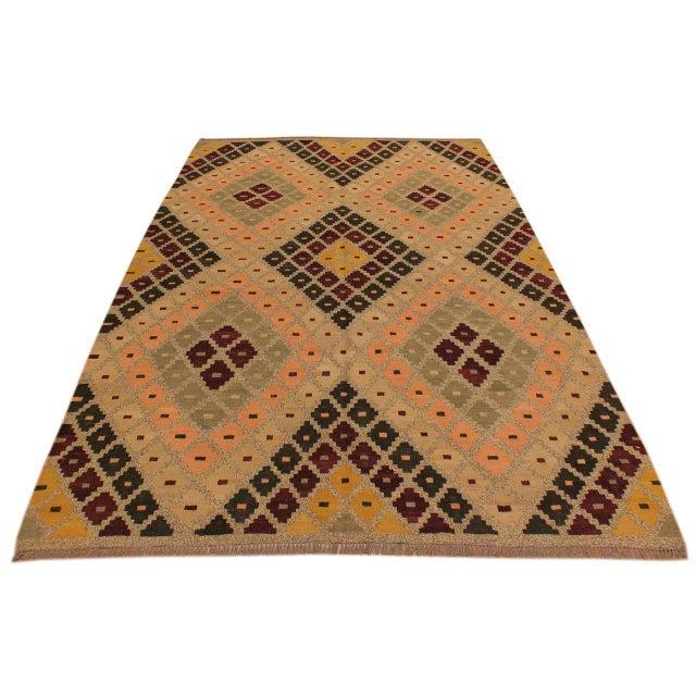 2010s Raymon Gray/Black Hand-Woven Kilim Wool Rug -5'4 X 6'8 For Sale - Image 5 of 8