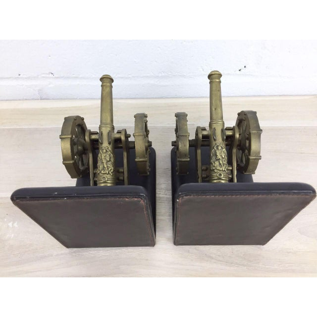 Antique Artillery French Leather & Bronze Bookends - A Pair - Image 5 of 11