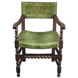 Dining Chairs Renaissance Green Oak Wood - Set of 8 Preview