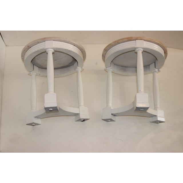 Stone Hollywood Regency Side Tables in White Lacquer With Pink Marble: Tops 1940s - a Pair For Sale - Image 7 of 12