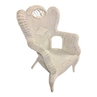 Early 20th Century Wicker Wingback Armchair For Sale