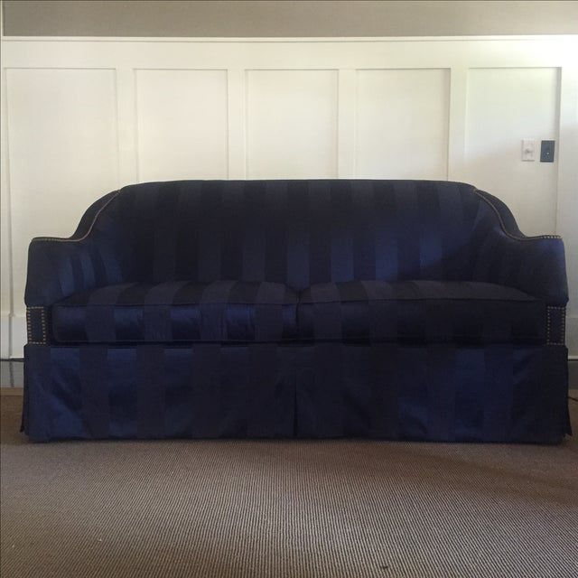 "Hickory Chair ""Eton"" Navy Blue Sofas - A Pair - Image 2 of 3"