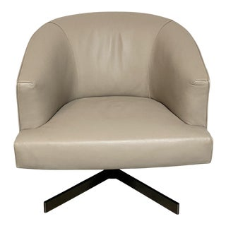 """Minotti """"Martin"""" Leather Swivel Chair For Sale"""