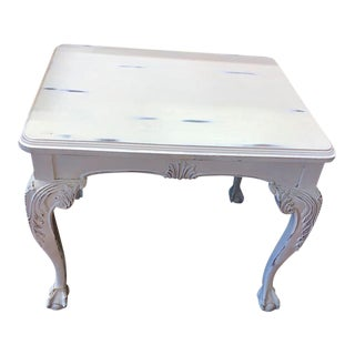 Antique Shabby Chic White Solid Wood Ball & Claw Foot Table For Sale