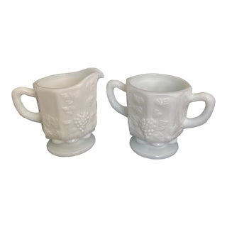 Vintage Westmoreland White Milk Glass Paneled Grape Cream Pitcher and Sugar Bowl - a Pair For Sale