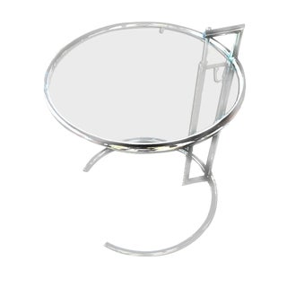 Contemporary Eileen Gray Iconic Adjustable Height Round Chrome & Glass Bauhaus Side Table For Sale