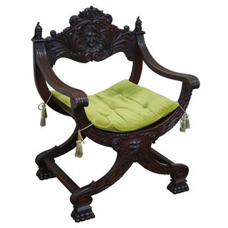 19th Century Oak Renaissance Savonarola Arm Chair