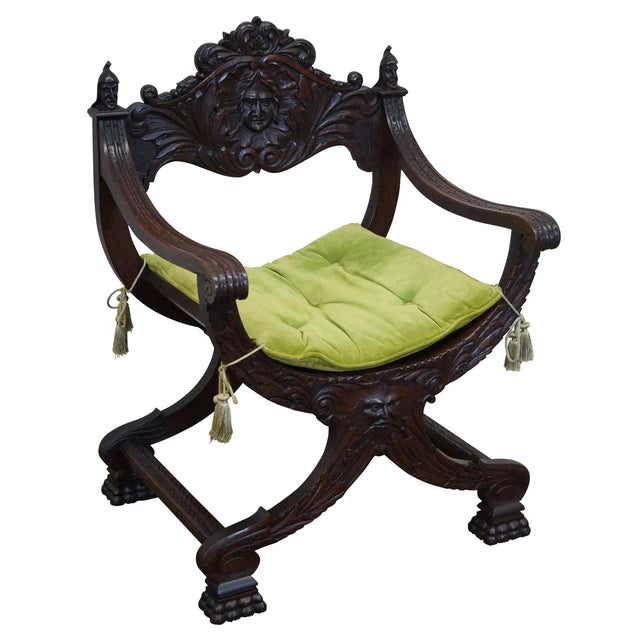 19th Century Oak Renaissance Savonarola Arm Chair - Image 1 of 10