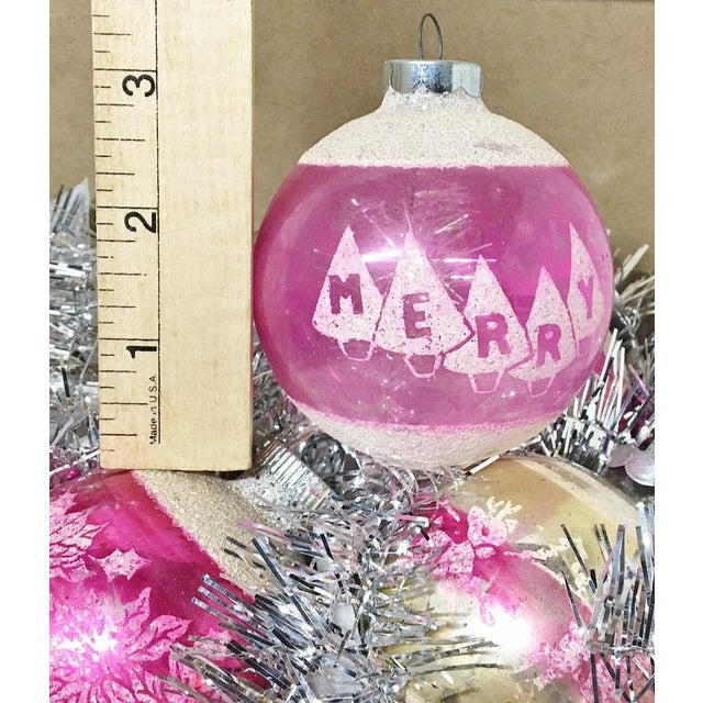 Mid-Century Modern 1960's Vintage Shiny Brite Pink Christmas Tree Ornaments - Set of 6 For Sale - Image 3 of 6