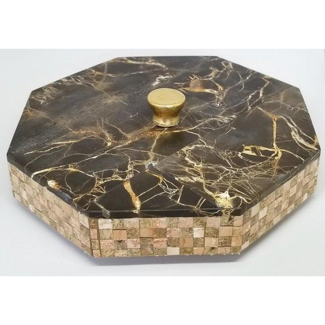 Felt Vintage Maitland Smith Tessellated Italian Portoro Marble Box - Mid Century Modern Palm Beach Boho Chic Jewelry For Sale - Image 7 of 11