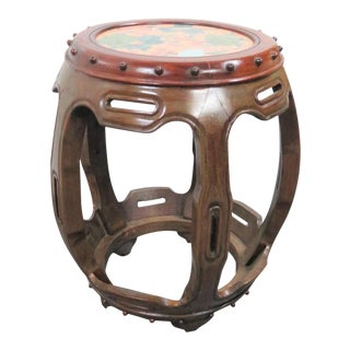 Chinese Rosewood/Porcelain Garden Stool For Sale