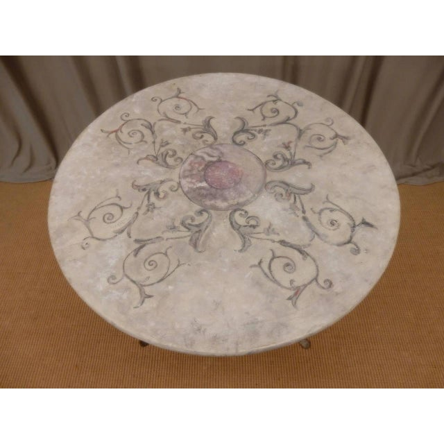 Early 19th Century Italian Provincial Faux Marble Top Table on Iron Base For Sale - Image 5 of 9