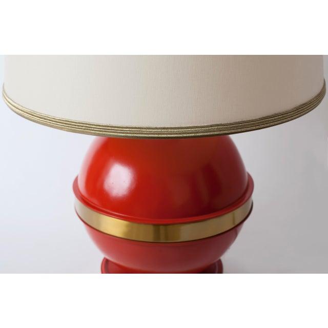1970s Vintage Mid-Century Orange Globe Table Lamp - Image 3 of 5