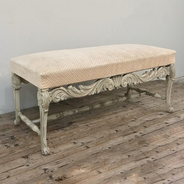 Antique French Louis XIV Painted Bench is an excellent choice for hallway or stairwell landing seating, and makes a great...