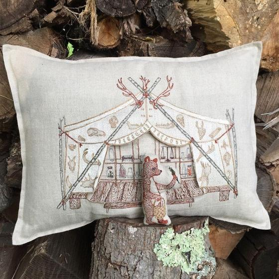 Children's Bear Apothecary Tent Pocket Pillow For Sale - Image 3 of 6