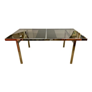 Milo Baughman Chrome and Smoked Glass Extendable Dining Table For Sale