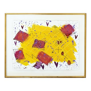 Contemporary Modern Framed Acrylic Abstract Painting Signed Jo Rosen 1980s For Sale