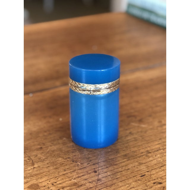 Mid 19th Century 19th Century Blue Opaline Glass and Brass Cylindrical Box For Sale - Image 5 of 8