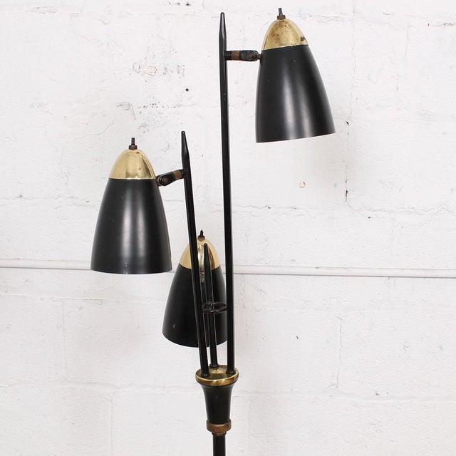 Mid-Century Black 3-Arm Adjustable Floor Lamp - Image 9 of 9