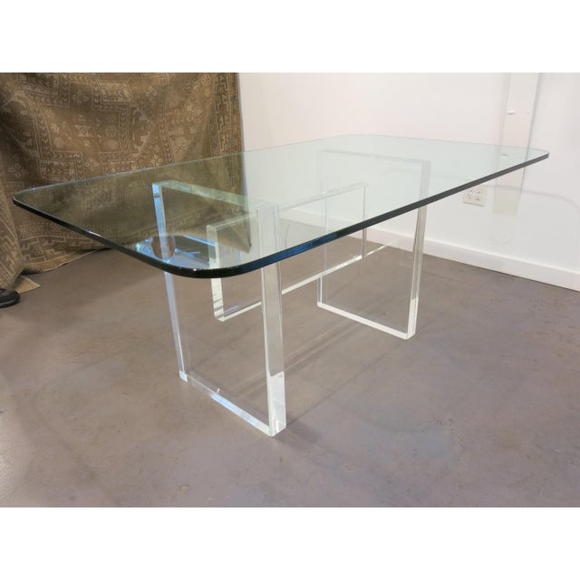 Glass 1970's Lucite Executive Desk / Dining Table For Sale - Image 7 of 13