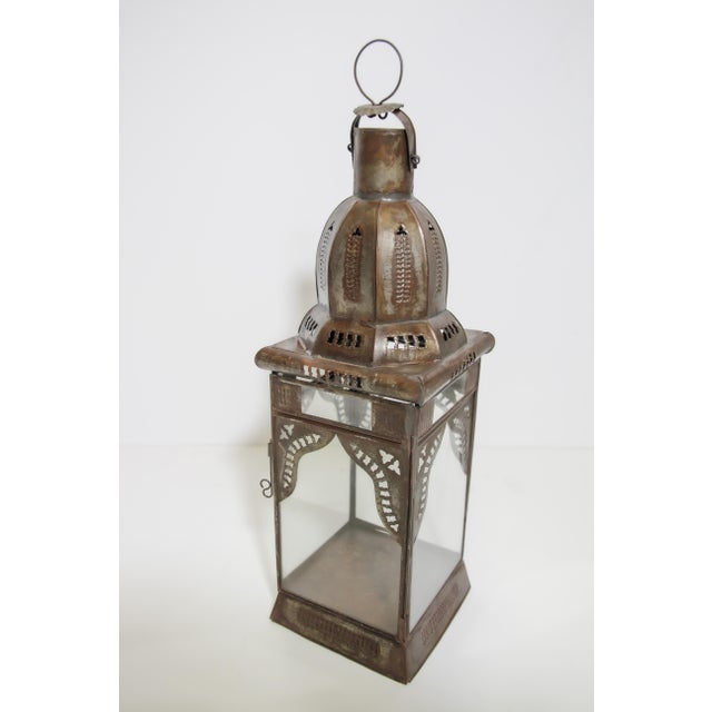 Early 21st Century Moroccan Moorish Square Metal and Clear Glass Candle Lantern For Sale - Image 5 of 13