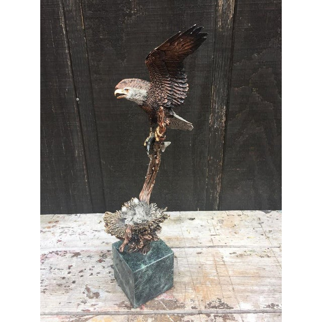 """""""Sunday Brunch"""" Bronze/Marble Eagle Sculpture by Kitty Cantrell For Sale - Image 6 of 11"""