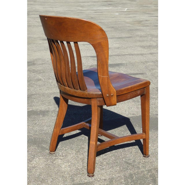 Set of 4 Vintage Mid-Century Brown Solid Wood Farmhouse Chic Library School House Chairs - Image 11 of 11