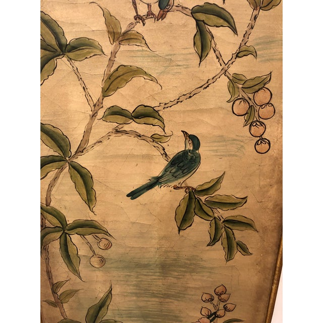 Hand Painted Asian Panels With Birds & Foliage - a Pair For Sale - Image 4 of 10