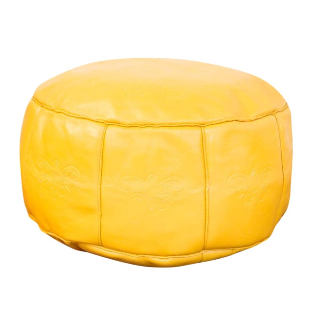 Antique Revival Leather Moroccan Pouf Ottoman - Fly Yellow For Sale