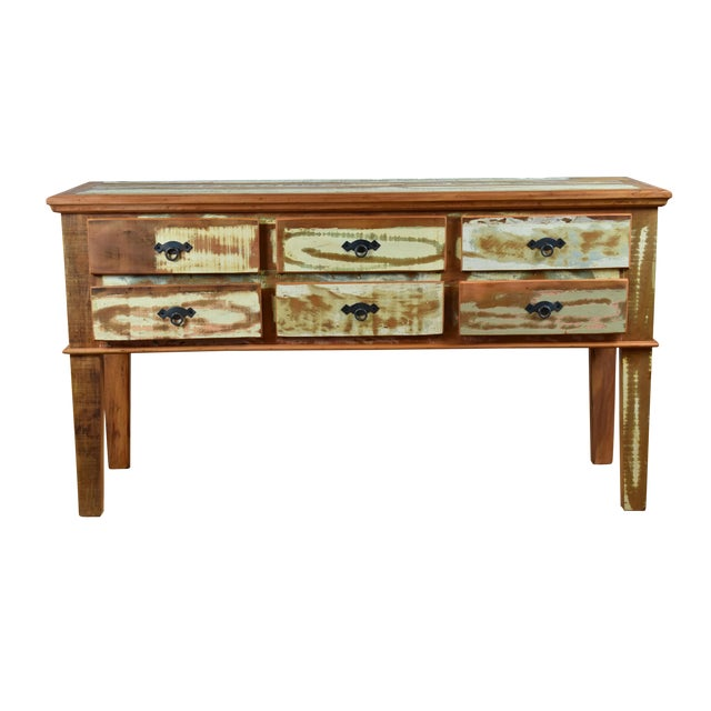 Reclaimed Peroba Wood Handmade Eco-Friendly 6 Drawer Console Table For Sale