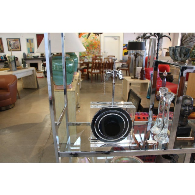 A quite lovely Lucite lamp designed by Felice Antonio Botta made in Florence Italy. It has been completely re-wired and...