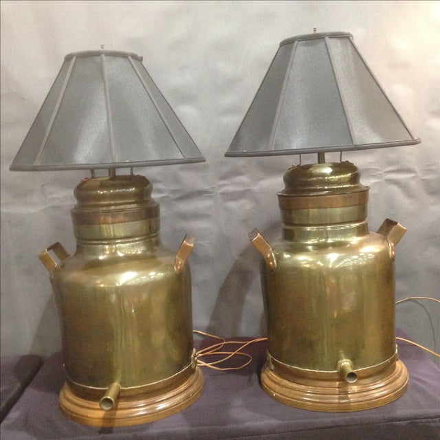 Monumental Brass Tea Canister Lamps- A Pair - Image 3 of 9