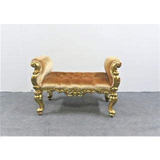 Italian Rococo Gold Gilt Tufted Window Bench Preview
