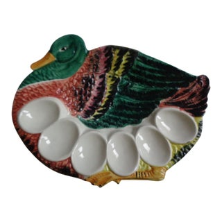 Vintage Italian Hand-Painted Duck Egg Plate Easter For Sale