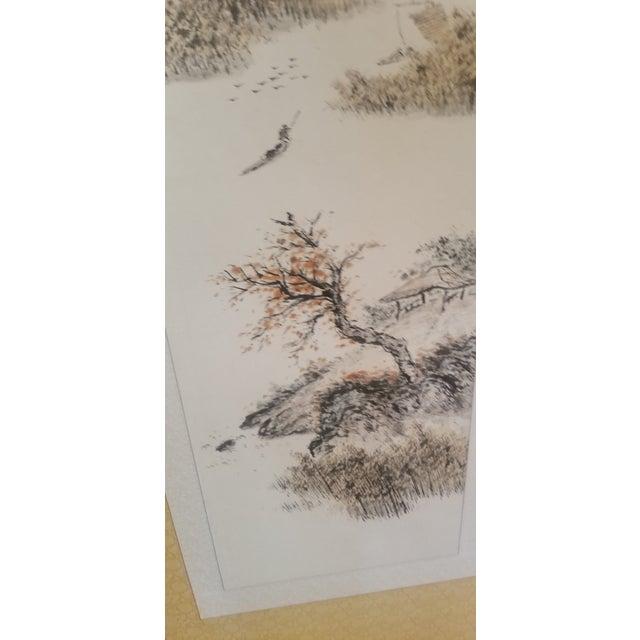 1960s 1960s Vintage Korean Hand Painted Seasons Silk Screen For Sale - Image 5 of 11