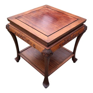 Early 20th Century Chinoiserie English Mahogany Chinese Style Carved Dragon Side Table For Sale