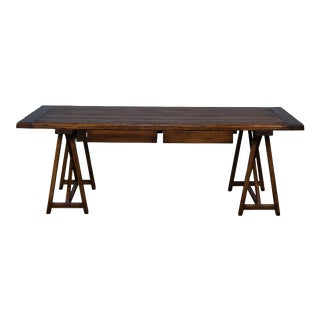 Sarreid Sawhorse Desk, Antique Brown For Sale