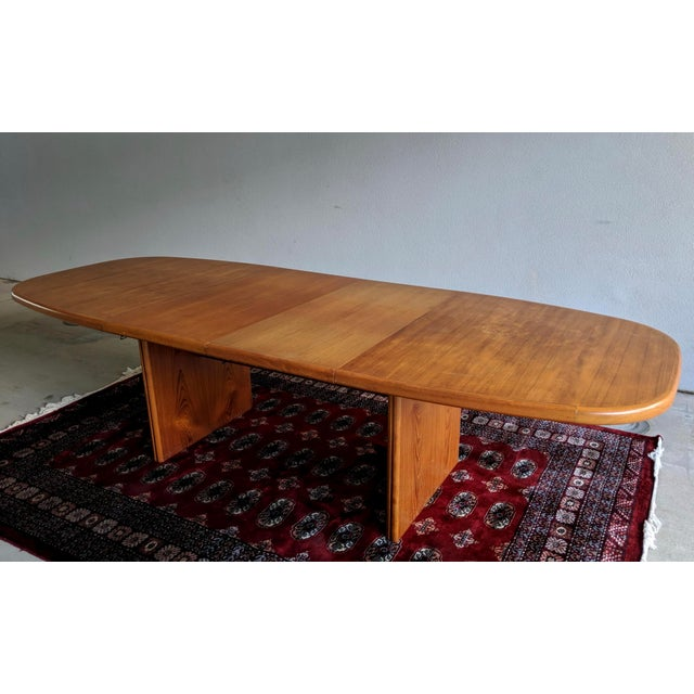 """Contemporary 1970s Danish Modern 110"""" Teak Dining Table For Sale - Image 3 of 13"""