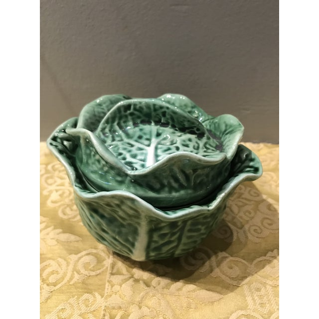 1970s Vintage Secla Majolica Green Cabbage Covered Soup Bowls - Set of 3 For Sale - Image 5 of 12