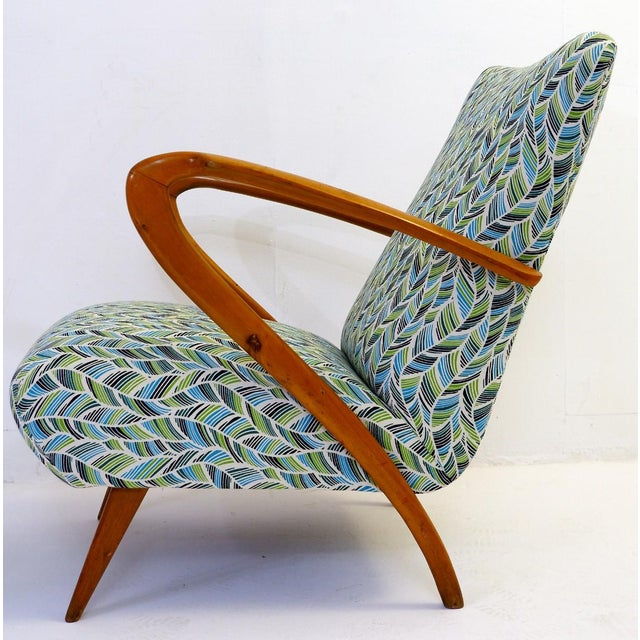 Wood Pair of Guglielmo Ulrich Armchairs, Italy 1950 - New Upholstery For Sale - Image 7 of 9