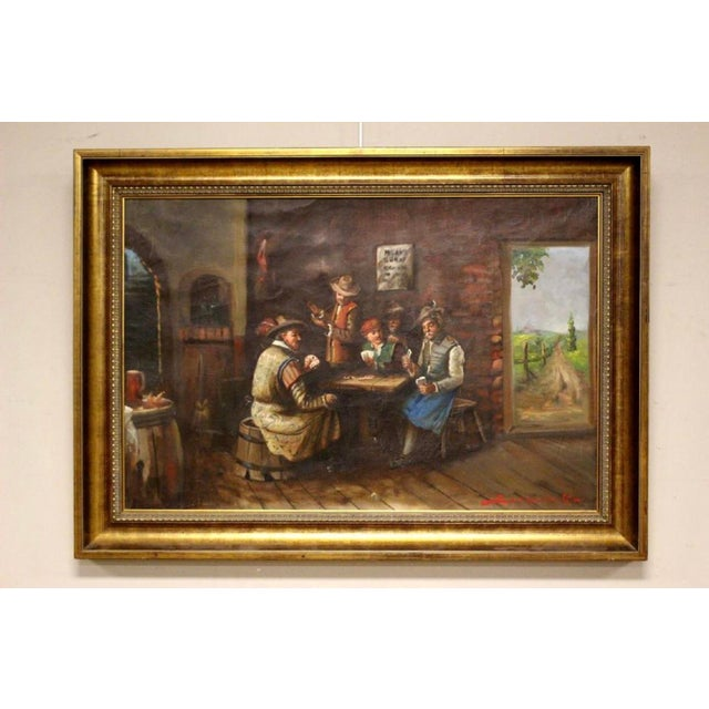 Brown 1930s Vintage Signed Oil on Canvas Genre Painting For Sale - Image 8 of 8