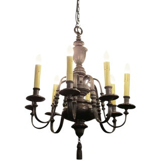 Georgian Style Bronze Eight Arm Chandelier by E F Caldwell For Sale