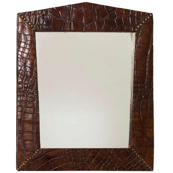 Late 19th Century Alligator Skin Frame With Brass Stud Design in Corners With Mirror For Sale - Image 5 of 5