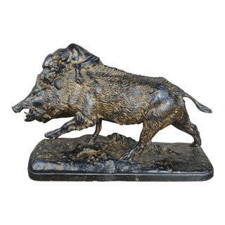 Antique Patinated Plaster Sculpture With Dog and Wild Boar After Isidore Bonheur For Sale