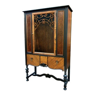 20th Century Traditional Heirloom Jacobean Walnut Hutch For Sale