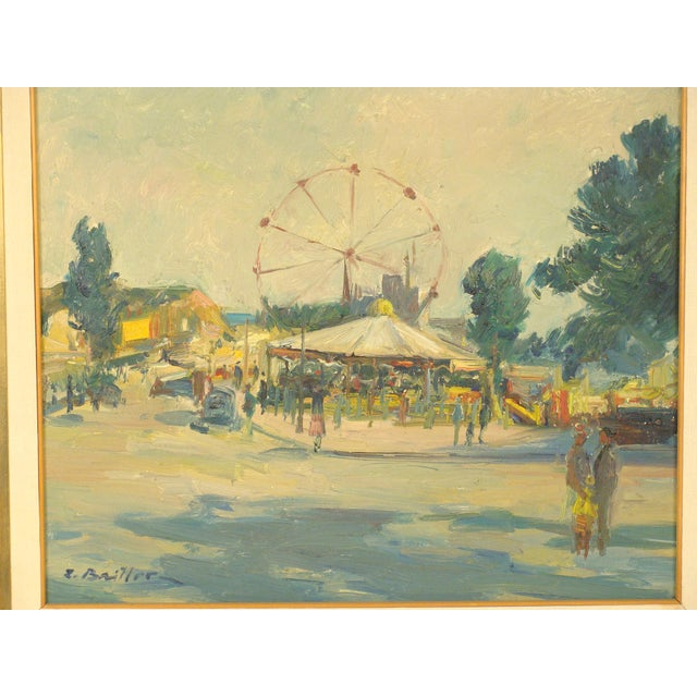 Impressionistic painting of a carnival scene with ferris wheel and merry go round by well listed artist Zoma Baitler (...
