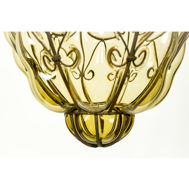 Blown Glass Italian Iron Wire & Blown Glass Pendant For Sale - Image 7 of 13