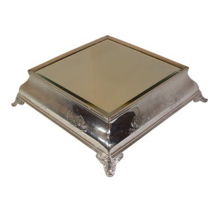 Early 1900's English Engraved Square Mirror Plateau For Sale